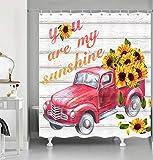 NYMB Duschvorhang für Badezimmer, Polyester-Gewebe Duschvorhänge für Badezimmer, Duschvorhänge inklusive Haken, 177,8 x 177,8 cm Sonnenblumen