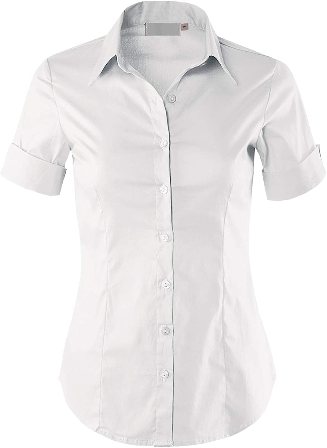 MAYSIX APPAREL Short Sleeve Daily Max 84% OFF bargain sale Stretchy F Button Down Office Collar