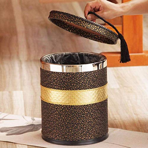 Mülleimer Mülleimer, Wohnzimmer aus Metall, kreatives goldenes Schlafzimmer, Küche mit Abdeckung zur Wiederherstellung der Antike, Brown 01
