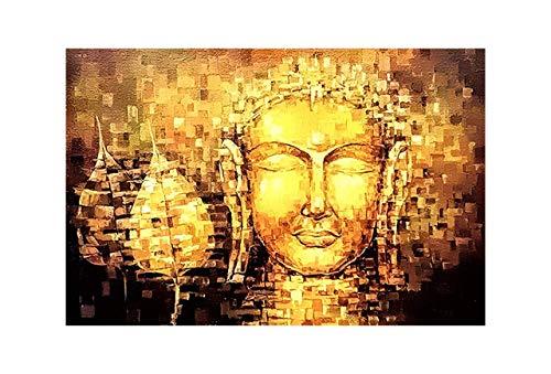 Paper Plane Design Rectangular Golden 'Lord Buddha Tibetan' Unframed Paintings (Canvas 30.48 cm X 0.2 cm X 45.72 cm)