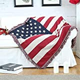Knitted Throw Blanket 4x6 Feet American Flag USA Design 130x180cm Sofa Couch Bed Throws for Home Hotel Travel