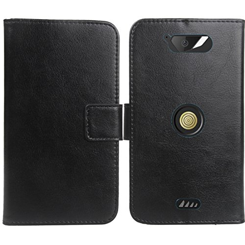 Gukas Wallet Style Housse Coque pour Crosscall Action X3 5' PU Leather Cas Couverture Cuir Etui Case Cover Flip Protection Portefeuille Noir