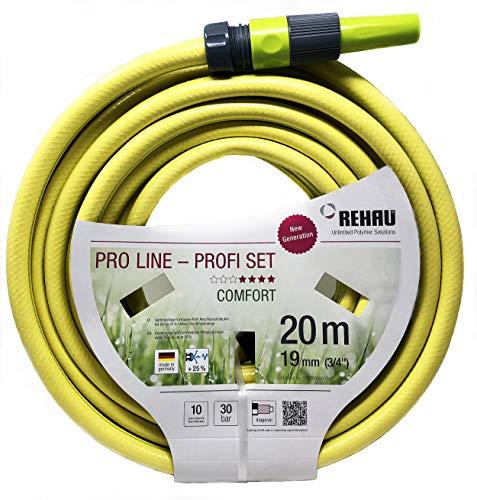 REHAU Gartenschlauch PRO LINE, 5-teiliges Profi-Set mit Anschlussstücken + Spritze, umweltfreundliche Materialien, schadstoffrei, 19mm (3/4