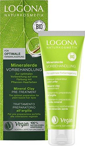 LOGONA Naturkosmetik Mineralerde Vorbehandlung bei Pflanzen-Haarfarben, Vorbereitung für Färbung, Vegan, 2er Pack(2 x 100 ml)