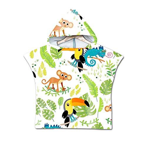 Telo Mare Poncho con Cappuccio per Bambini, DOTBUY Assorbente Asciugamano da Bagno in Microfibra,Asciugamano con Stampa di Creativo Cartoon Animali,per Bagno,Nuoto,Spiaggia (60x80cm,F)
