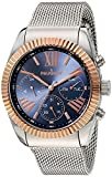 Peugeot Men Coin Edge Dress Watch - Multi-Function with Calendar and Chronograph Dials, Steel Mesh Band