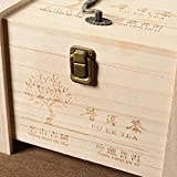 Paulownia tea box flip type with handle Pu'er tea white tea green tea storage storage box gift box-Wood color_35*24 * 23.5cm