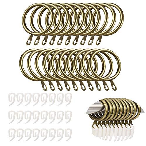 TSKDKIT 24 Set Metall Gardinenringe mit Kunststoffhaken 30mm Metall Vorhangringe Metall Hängende Ringe mit Haken,...