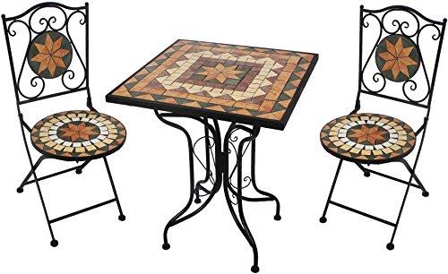 Giardino Sitzgarnitur Mosaik blau/orange, 1 Tisch + 2 Stühle, AY2659