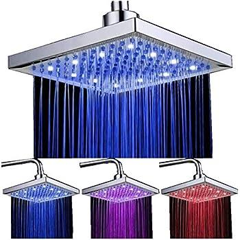 LED Soffione doccia 8 pollici controllo della temperatura 3 colore cambiando flusso d'acqua alimentato, soffione per doccia quadrato ABS cromato finito con 12pcs LED
