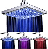 DAXGD LED Duschkopf viereckig 20cm Temperatur Control 3 Farbwechsel Wasser Flow Powered Top Sprühduschkopf ABS Chrome Finish 12 LEDs für Badezimmer