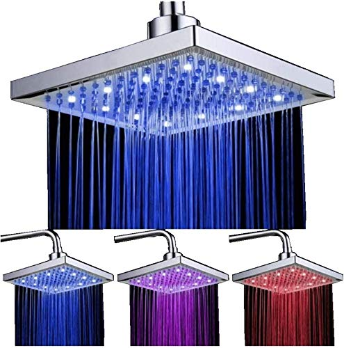 Ducha con sensor de temperatura, 3 cambios de color - 8 Inch Square Rociador superior de ducha con 12 leds para baño
