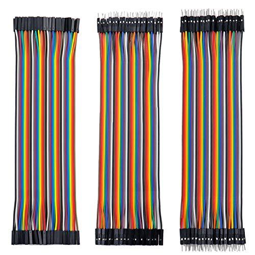 Jumper Wire Kabel set 3 x 40 Stück je 20 cm, Female-Female, Male-Female, Male-Male Kabel Steckbrücken 28AWG Drahtbrücken für Arduino Raspberry Pi