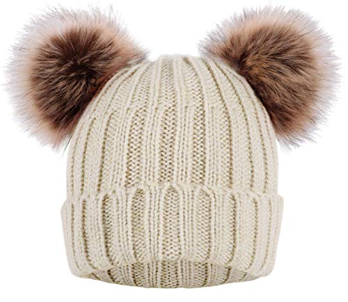 Product Image of the Arctic Paw Cable Knit Beanie with Double Faux Fur Pompom Ears Navy