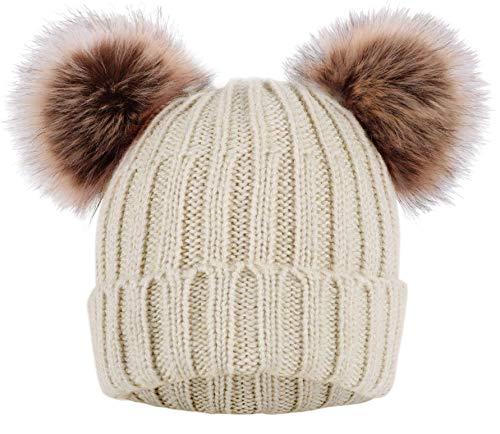 Arctic Paw Women Winter Double Ears Pompom Beanie Khaki Hat Coffee Ball