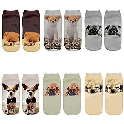Aipark - Lote de 6 pares de calcetines para mujer, diseño de unicornio, estampado 3D, talla única EU 35-40 perro Talla única