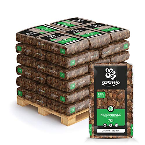 GALAMIO Rindenmulch Mulch Garten Holz Dekor Rinde Borke Natur Pinus Sylvestris Wald Kiefer Deko 60-120mm 70l x 30 Sack 2.100l / 1 Palette Paligo