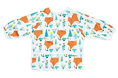Pikababy Long Sleeved Bib Waterproof Bibs with Pocket - 6 to 24 Months Baby Girl and boy Colors (White Fox) by