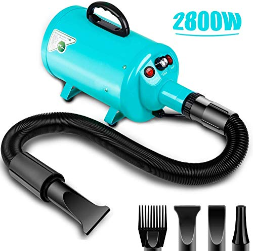 amzdeal Dog Dryer 2800W/3.8HP, Stepless Adjustable Speed Dog Hair Dryer, Dog Grooming Blower, Pet Hair Force Blower Blaster with Heat System, Spring Hose, Blue
