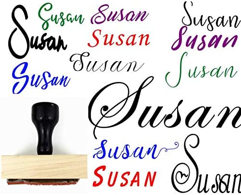 Self Inking or Wood Custom Name Signature Stamp Pick Your Font Rubber or Wooden Customizable product image