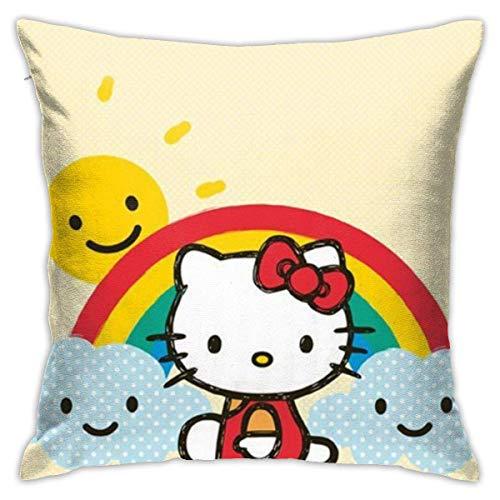 Sunshine Hello Kitty Home Decorativo Square Throw Pillow Fundas Set Fundas de cojines Fundas de almohada para sofá Dormitorio Coche 45x45 Cm