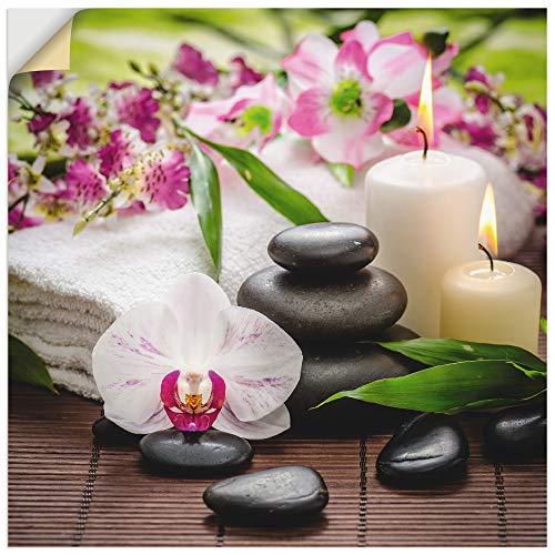 Artland Wandbild selbstklebend Wandtattoo Vinylfolie 50x50 cm Quadratisch Asien Wellness Zen Steine Spa Orchideen Blüte Rosa K3AD