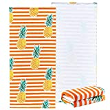 NovForth Microfiber Beach Towel for Women, Outdoors Pool Beach Towels for Gril, Oversized Classic Towels Pineapple 30'x 61', Cabana Stripe Quick Dry Absorbent Towel for Kids