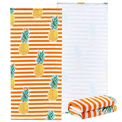 """NovForth Microfiber Beach Towel for Women, Outdoors Pool Beach Towels for Gril, Oversized Classic Towels Pineapple 30""""x 61"""", Cabana Stripe Quick Dry Absorbent Towel for Kids"""
