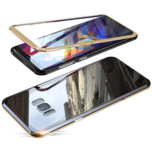 Jonwelsy Coque pour Samsung Galaxy S8 Plus (6,2 Pouces), 360 Degrés Avant et arrière Verre trempé Transparent Case Cover, Technologie d'adsorption Magnétique Bumper Métal Frame Etui Housse (Or/Noir)