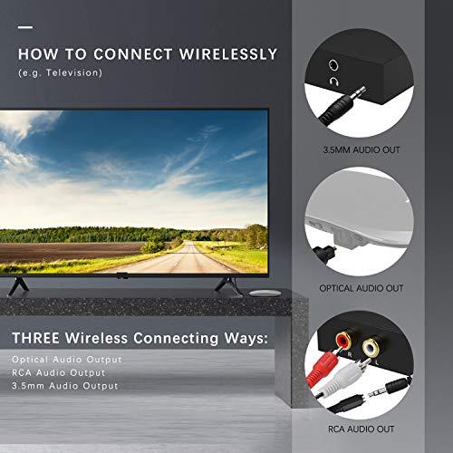 Jelly Comb Casque TV sans Fil Pliable Optique Stéréo, écouteur Rechargeable avec émetteur pour TV/PC/téléphone - 3 Modes de Connexion (Optique, AUX 3,5 mm, Sortie Audio RCA) - Or Rose