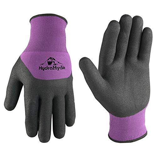 Women's Latex-Coated Grip Winter Gloves for Cold Weather, Medium (Wells Lamont 554M), Black/Purple