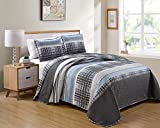 Better Home Style Luxury Lush Soft 3 Piece Charcoal Grey Blue White Plaid Striped Stripes Modern Design Printed Reversible Quilt Coverlet Bedspread Oversized Bed Cover Set # Jimmy (Full/Queen)