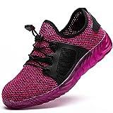 Zapatos de Seguridad para Hombre Mujer Puntas de Acero Antideslizantes Transpirables Anti-Piercing Zapatos de Trabajo (Color : Pink, Size : 39)