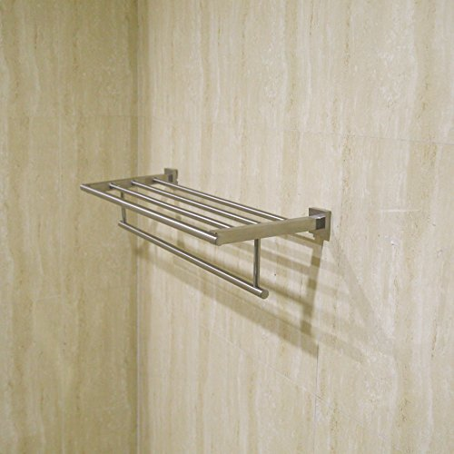WEBI 23.5-Inch Sturdy SUS 304 Stainless Steel Towel Bar Bathroom Towel Folding Rack Shelf Hanging Organizer Wall Mounted, Brushed Finish