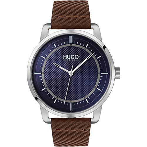 Hugo Herren Analog Quartz Armbanduhr Reveal mit Lederarmband