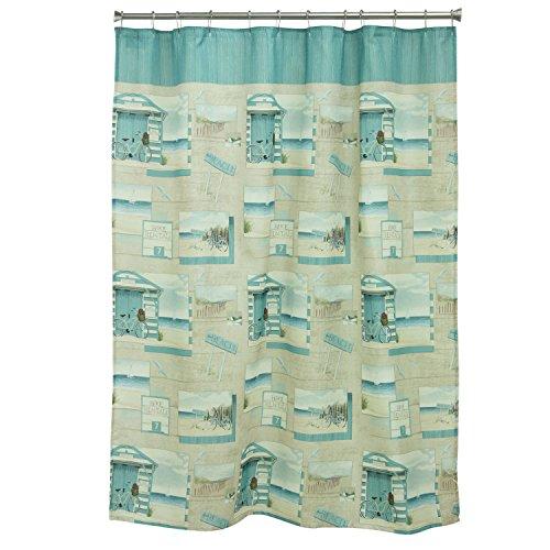 Bacova Guild Beach Cruiser Shower Curtain Duschvorhang, Blau, Elfenbein, One Size