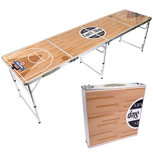CAN'T STOP PARTY SUPPLIES Portable Tailgating Beer Pong Table Easily Foldable w/Adjustable Height Options - Basketball Design