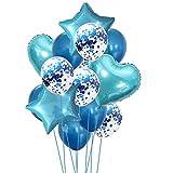 Yalulu 14 Stück Konfetti Luftballons Folienballon Herz Star Ballon Luftballons
