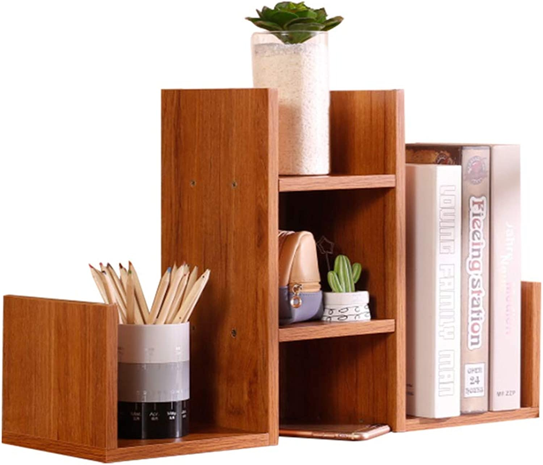 Desktop Organizer, Wood Bookshelf Display Shelf File Rack Stand Holder Table Counter Top Storage Rack, for Office Home, 2 Sizes