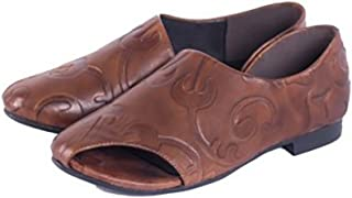 YNXZ-SHOE Female Sandals Fish Mouth Type Flat Shoes, Cozy Retro Fashion, Rubber, Brown, 35-40 Yards (Color : Brown, Size : 38)