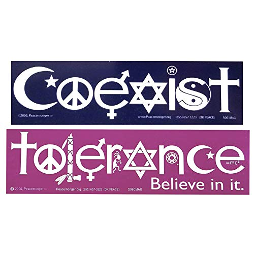 Coexist & Tolerance Peace Sign Yin-yang Interfaith Star Cross Symbol Glyph 2 Magnet Pack