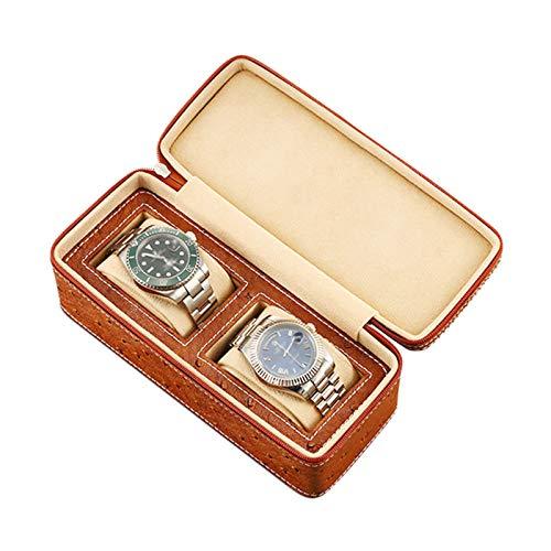 Jlxl Caja organizadora de reloj con 2 ranuras para reloj portátil, caja de almacenamiento de cuero para hombres y mujeres, diseño de cremallera, accesorios suaves ajustables (color marrón