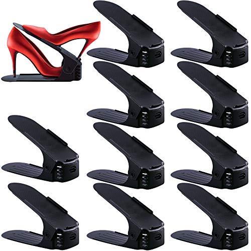 SaiXuan 10 Stück Einstellbare Schuhregale, Schuhstapler/Schuhhalter Set, 3 höhenverstellbar, Platzsparend, rutschfest,Kunststoff-schwarz