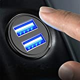 Car Charger WJZXTEK 4.8A 24W Aluminum Alloy Car Charger Mini Dual Fast Flush
