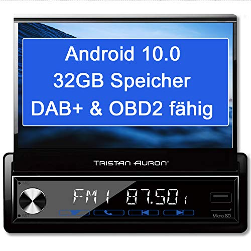 Tristan Auron BT1D7027A Android 10.0 Autoradio I 32GB ROM I 7\'\' Touchscreen I GPS Navi I Bluetooth Freisprecheinrichtung I USB SD OBD 2 DAB Plus I 1 DIN