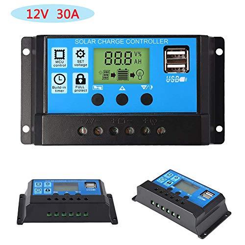 ZHITING 12V / 24V Regolatore di pannello solare Regolatore di carica Display LCD PWM 30A Porta USB