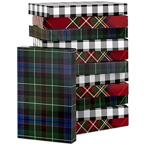Hallmark Plaid Shirt Box Bundle (12 Boxes, 3 Designs) Blue, Green, Red Plaid, Black Buffalo Check for Christmas, Hanukkah, Birthdays, Father's Day