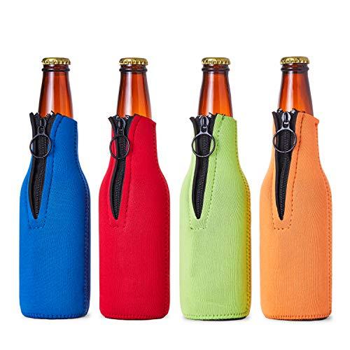 Funda de Espuma para Botellas de Cerveza - Funda aislante de neopreno con cremallera para botellas de cerveza - Juego de 4 colores