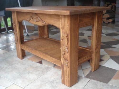 Unbekannt Massiver Handgemachter Tisch Couchtisch Eiche Massivholz Dekoration (Fil)