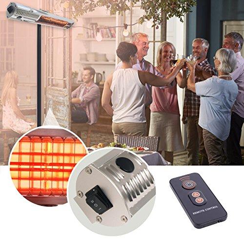 Gardigo Edelstahl Infrarot Heizstrahler | Goldröhre – weniger Stromverbrauch | Wärmt gezielt Menschen | Infrarotstrahler | 4-Stufen | Außenbereich - 8